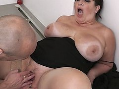 Big young busty fattie with pierced tongue fucked by her job supervisor
