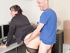 Young teasign fattie bends over for her boss and pulls sheer panties down